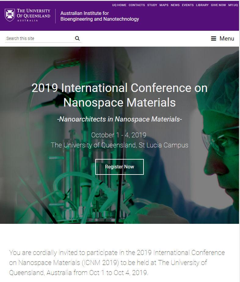 请在2019年昆士兰大学圣卢西亚校区纳米材料会议上光临我们的展位