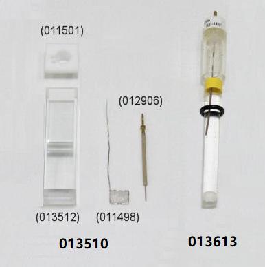 图3 SEC-C 石英玻璃薄层光谱电化学池套件和参比电极