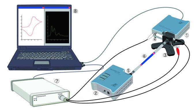 流动池系统光谱电化学测量示意图。