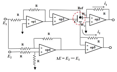 图2. 由5个运算放大器组成的双恒电位仪的电路图。